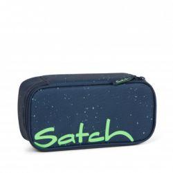 satch Pencil Box - dark blue, green,  - Space Race